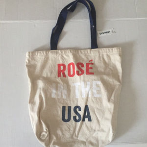 """New Old Navy Canvas Tote Bag """"Rose In The USA"""""""